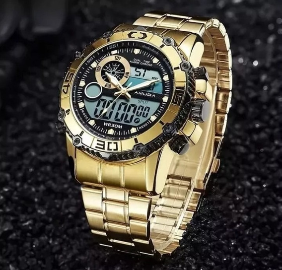 Relógio Dourado Amuda Quartz Luxo Top Frete Grátis Promoção