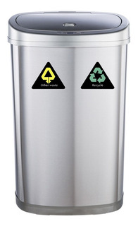 Cesto Tacho De Basura Automatico Eco Reciclaje Doble 50 Lts