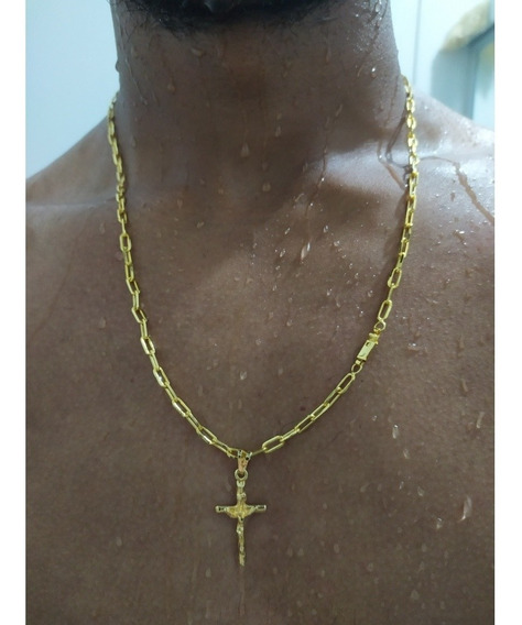 Corrente Banhada A Ouro 18k Masculina + Pingente Crucifixo