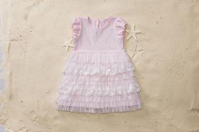 Vestido Pituchinhus Mini Rosa Com Cascata De Babados