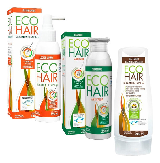 Combo Eco Hair Anticaida Crecimiento Cabello Locion Sham Aco