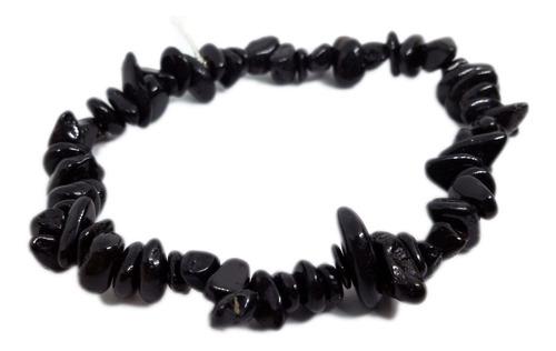 Pulseira De Cascalho De Pedra Turmalina Negra Natural