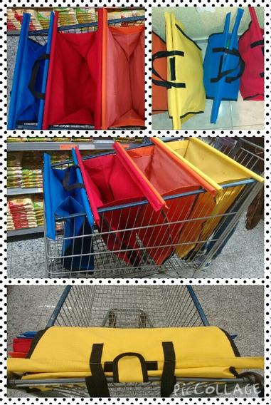 2 Kits C/ 4 Bags Sacolas De Supermercado Cada