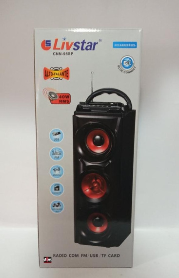 Caixa Portatil Bluetooth 40w Rms Recarregavel Livstar