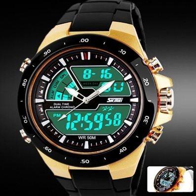 Relógio Masculino Sport Digital 50 M Dourado Skmei 1016