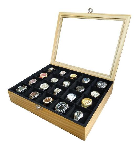 Estojo/caixa Para 20 Relógios Madeira - Marfim Flocado De
