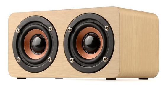 Caixa Bluetooth Mp3 Player 10w- Recarregável- Madeira Marfim