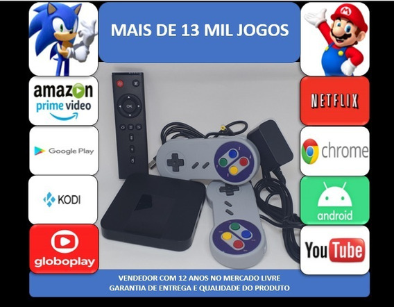 Retro Game 13mil Jogos 64gb Tv Box 2 Controles Usb