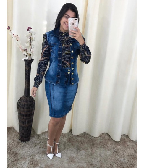 Conjunto Feminino Jeans Colete Jaqueta E Saia Midi