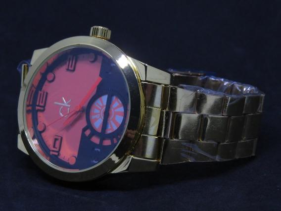 Relógio Ck Dourado Aço Moderno Top Masculino Original C128