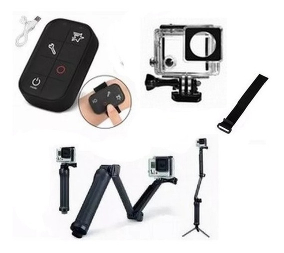 Kit P Gopro Hero 3+ E 4 Controle Wifi Tripé 3 Way Estanque