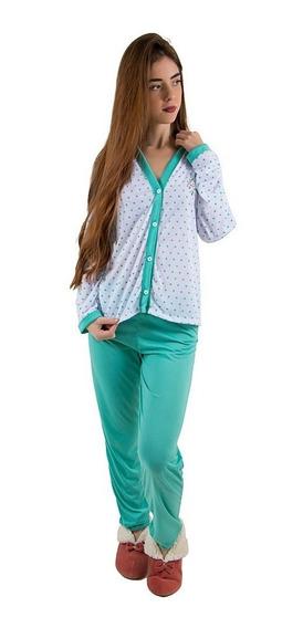 Pijama Longo Adulto Feminino Blusa Aberta Botões E Calça