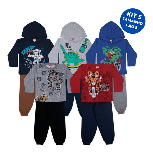 Imagem 1 de 7 de Kit 5 Conjuntos Infantil Moletom Roupa Inverno Promoção