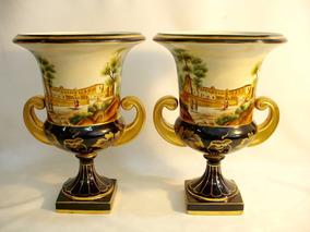 Par De Vasos Ânforas Em Porcelana Europeia Belissimo