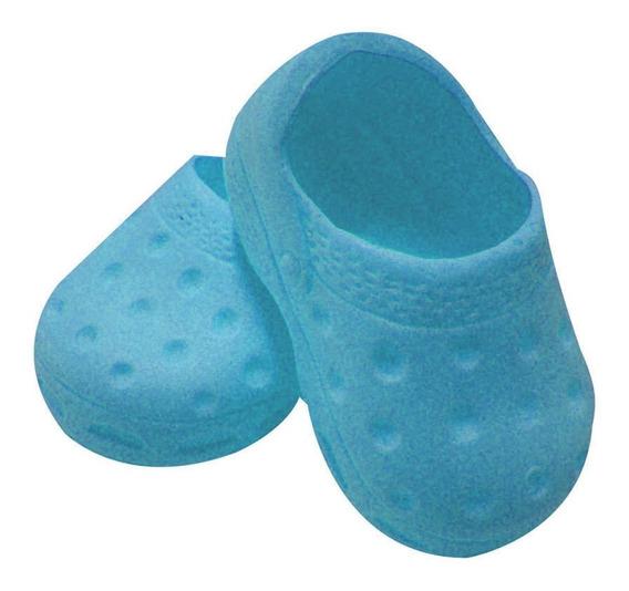Sapatinho Sport 7,5cm Para Boneca - Laço De Fita - Azulbb
