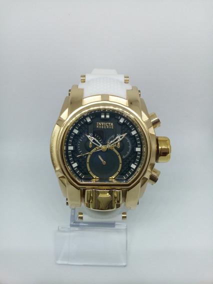 Relógio Magnum Bolt Dourado Preto Pulseira Borracha Branca
