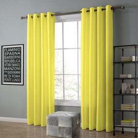 Cortina De Oxford Para Sala E Quarto 3,00 X 2,30 Amarelo