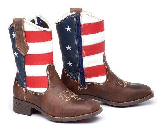 Bota Masculina Infantil Country Texana Rodeio Bico Quadrado