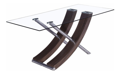 Mesa Comedor Modelo Excel 160x90 Cristal 12m Base Central