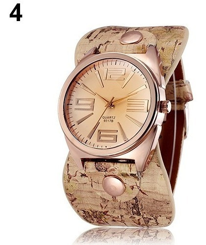 Kit 2 Relógio Pulso Feminino Vintage Couro Bracelete Pedra Q