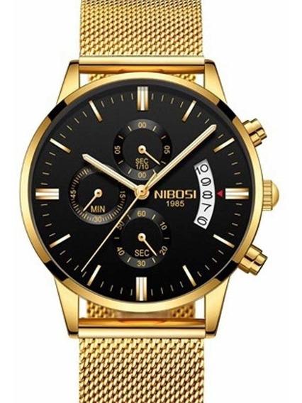 Relógio Masculino Dourado Nibosi Malha De Aço 100% Funcional