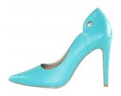 Scarpin Salto Alto Week Shoes Couro Azul Turquesa