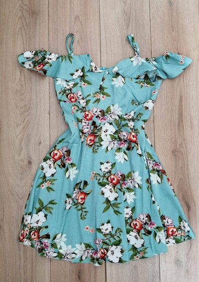Vestidos Casuales Menta Flores Sin Hombros Para Dama I31