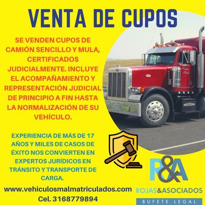 Cupos Camión Sencillo, Cupos Patineta, Cupos Mula