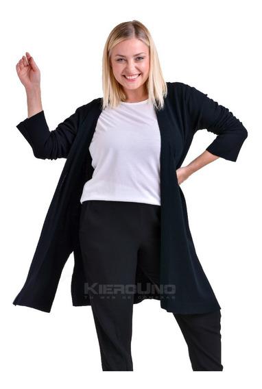 Cárdiga Largo Tapado Sin Botones Sweater Lana Negro Kierouno