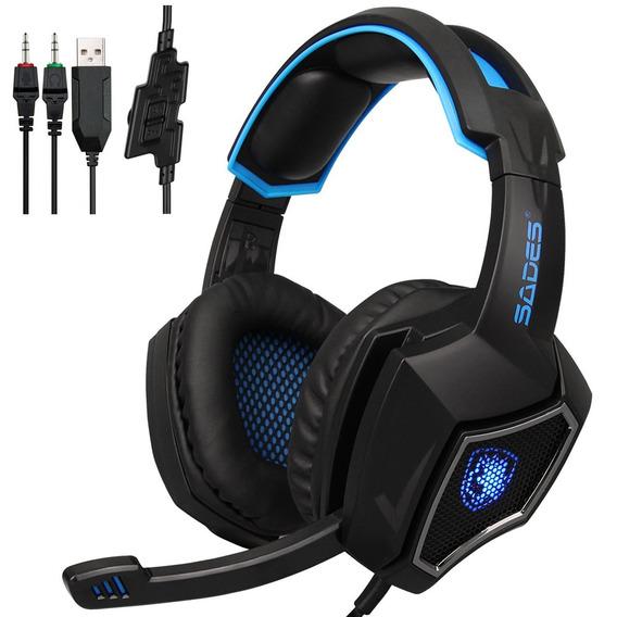 Sades R9 Pc Gaming Headsets 3.5mm Fone De Ouvido Com Fio Sob