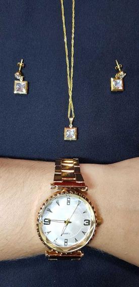 Kit Relógio Feminino Com Par De Brincos E Colar