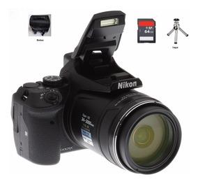 Camera Nikon P900 83x Vr 16mp Gps +wifi + 64gb+ Bolsa+ Tripé