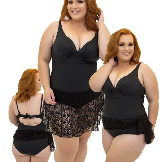 Maio Plus Size Com Canga Embutida E Bojo, Maiô Plus Size