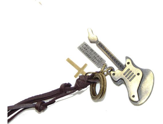 Collar Ajustable De Piel Guitarra Cruz