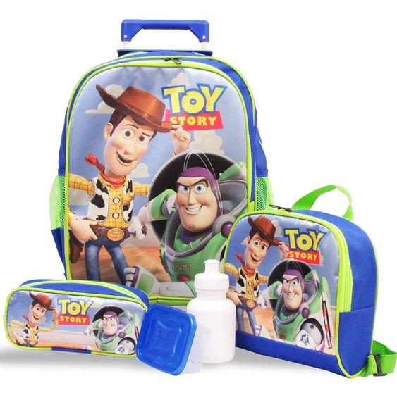 Kit Mochila De Rodinhas Toy Story Tam G + Lancheira E Estojo