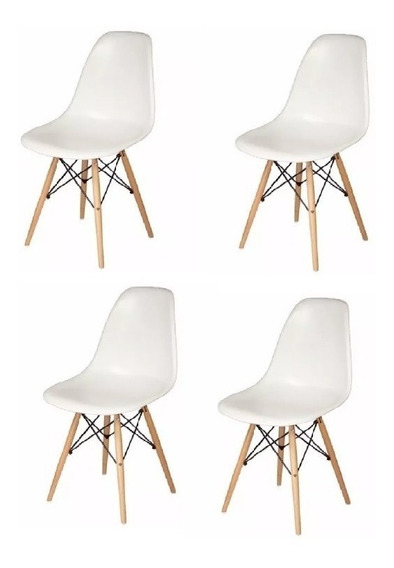Set De 4 Sillas Eames - Blanco/negro - Promoción!!!