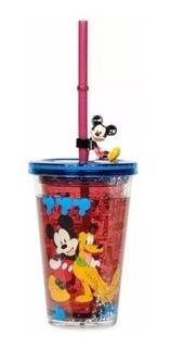 Vaso Tapa Y Pitillo Disney Original Mickey Mouse