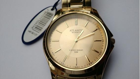 Relógio Femenino Atlantis Mostrador Dourado Pulseira De Aço