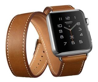 Pulseira Couro Estilo Hermes Double Tour Apple Watch 38/40mm