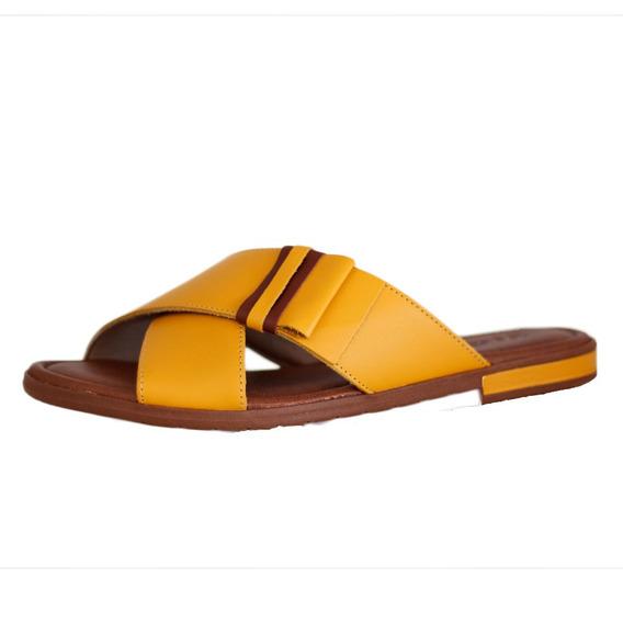 Chinelo Usaflex Confortável Amarelo Com Marrom 2203