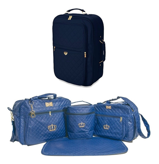 Kit Bolsas Maternidade 4pcs E Mala De Viagem Azul Marinho