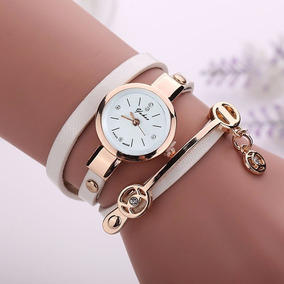 Relógio Vintage Lindo Elegante Em Couro C/ Caixa