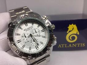 Relógio Atlantis Masculino Prata Grande