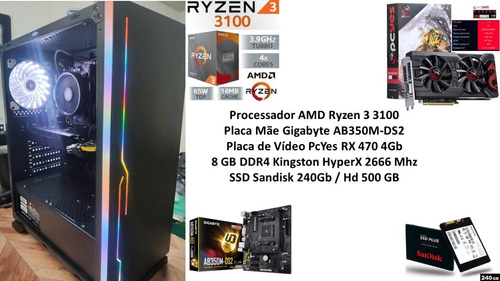 Pc Gamer Amd Ryzen 3 3100 8gb Rx 470 4gb