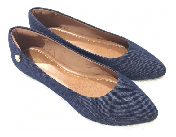 Sapatilha Feminina Basica Jeans Bico Fino Confort Luxo