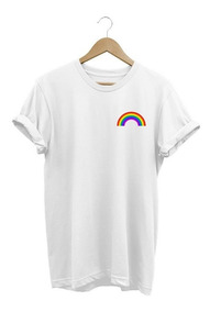 Camisa Feminina Arco-íris Baby Look Colorida Lançamento 2018