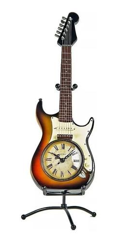 Figura Decorativa En Forma De Guitarra Stratocaste Con Reloj