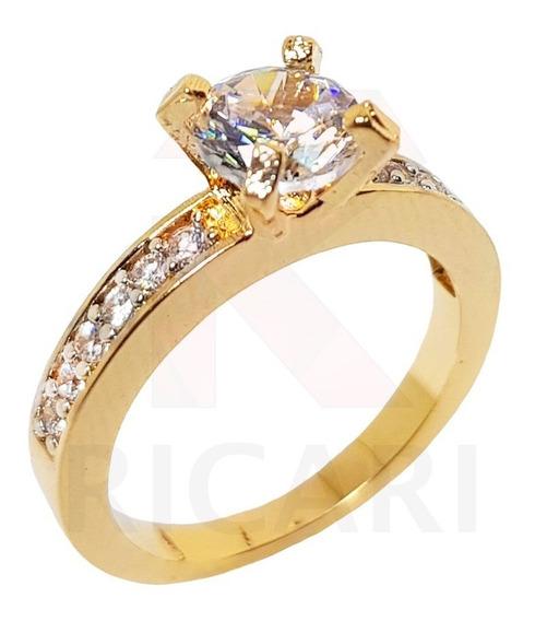 Anel Solitário Feminino Banhado Ouro 18k Zirconia Luxo Lindo