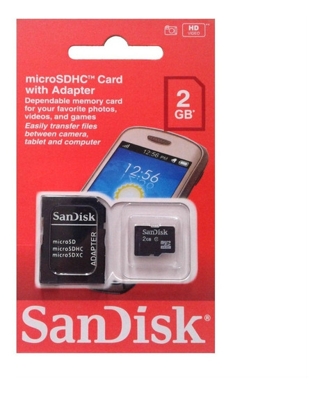Cartão De Memória Micro Sd Sandisk 2gb Tf + Adaptador / R002