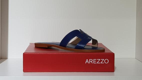 Sandália Rasteira Couro Corrente Mykonos - Arezzo